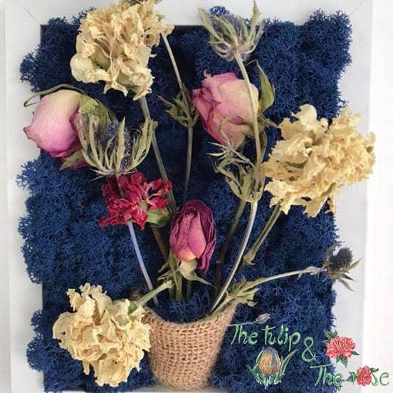 Tablou licheni si flori uscate naturale 2